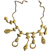Late 1800s - Very Early 1900s Etruscan Charm Necklace w Lion Head Charm