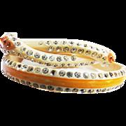 1920s Celluloid Serpent Rhinestone Bracelets