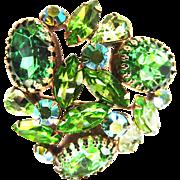 Gorgeous Designer Big Chunky Peridot emerald Glass Brooch