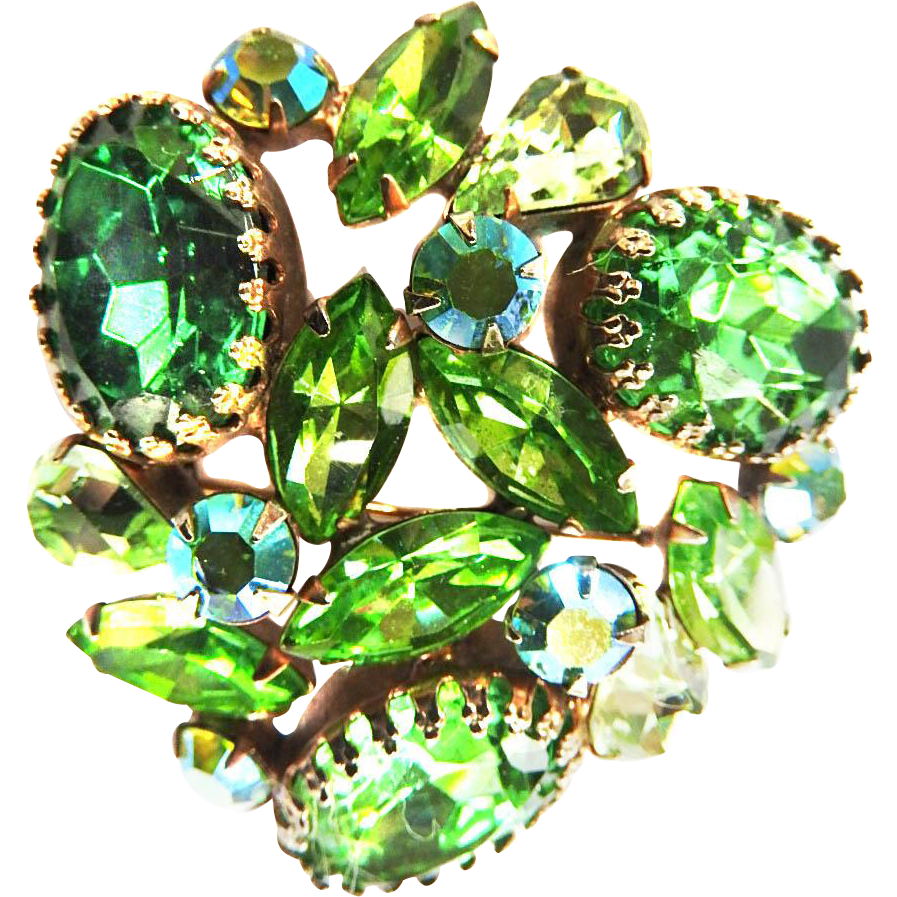 Gorgeous Designer Big Chunky Peridot emerald Glass Brooch