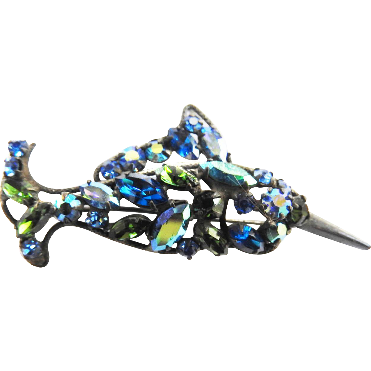 Vintage Regency Rhinestone Sword Fish Pin