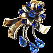 Designer Sterling Silver Flower Rhinestone Brooch 1940s