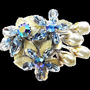 Vntage Regency Faux Pearl Brooch with Blue Rhinestones