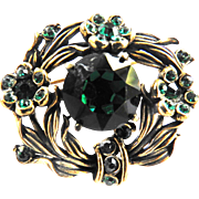 Hollycraft Emerald Green Rhinestone PIn Brooch