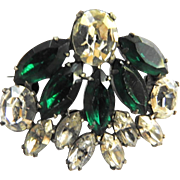 Designer high end Emerald Green Fan Shaped Brooch