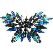Beautiful Austrian Rhinestone Butterfly Brooch 1950s