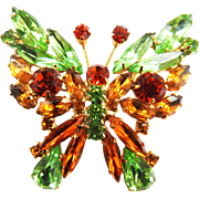 Vintage Juliana  Rhinestone Butterfly Brooch
