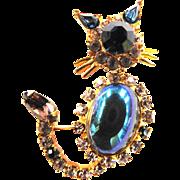 Vintage Trembler Kitty Brooch Pin Adorable
