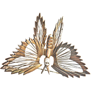Spectacular Sterling Silver Mexico Butterfly Pin Brooch Vintage