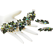 Breathtaking Juliana Peridot Emerald Green Rhinestone Bracelet Earrings