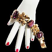 1940s Coro Amethyst  Glass Chunky Bracelet
