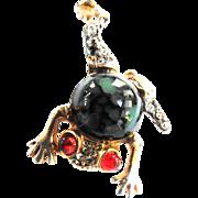 Adorable Rhinestone Chunky Frog Pin Designer
