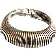 Designer Silver Colored Metal Huge Collar 80s