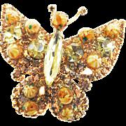 Vintage 50s Rhinestone and Art Glass Butterfly Brooch Designer