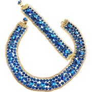 Vintage 50s Sapphire Blue Electrifying Collar and Bracelet
