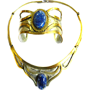 Fabulous Vintage Egyptian Revival Lapis and Copper and Silver Collar and Bracelet