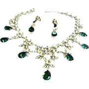Magnificent Huge Vintage Emerald Glass Collar/Bib Necklace and Earrings