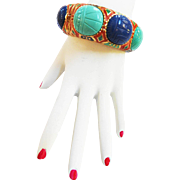 Spectacular Designer Egyptian Scarab Vintage Clamper Bracelet