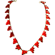 Early 1900s Czech Red Step Glass Necklace