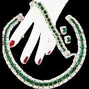 Gorgeous Bogoff Necklace Bracelet Earrings Emerald Green