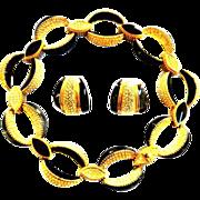 Vintage Ciner Enamel Black Rhinestone Collar and Earrings
