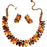 Vintage Chunky Designer Fall Colors Necklace and Earrings
