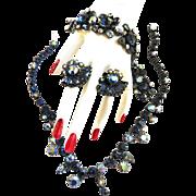 Spectacular Vintage 40s Claudette Necklace Bracelet Earrigs