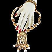 Vintage  Asian Dragon Milkglass Large Pendant Necklace