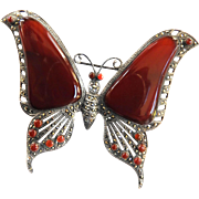 Magnificent Carnelian Marcasite Vintage Butterfly Brooch