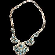 Vintage Czech Aqua Rhinestone Filigree Vintage Necklace