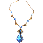 Exquisite Czech Early 1900s Sapphire Blue Glass Necklace Must C