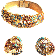 Vintage Ciner Multi Stone Clamper Bracelet and Earrings