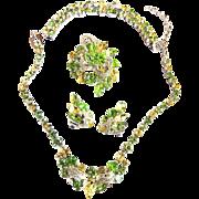 Exquisite Eisenberg Peridot Vintage Necklace Bracelet Earrings Brooch