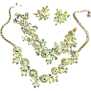 Exquisite Weiss Peridot Parure 1950s Necklace Bracelet Earrings