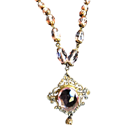 Exquisite Early 1900s Czech Rose Blush Pink Glass Pendant Necklace