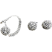 Vintage Rhinestone Disco Ball Dazzling Kramer Demi Bracelet and Earrings