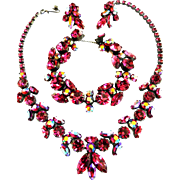 Magnificent Fuchsia Regency 1950s Parure Necklace Bracelet Earrings
