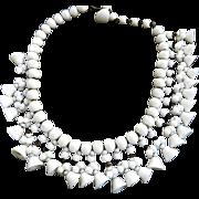Vintage 50s Milk Glass Art Glass Drippy Bell Necklace