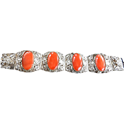 Vintage Asian Chinese Carnelian Stone Bracelet