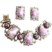 Fabulous Vintage Lava Rock Pink Chunky Bracelet and Earrings