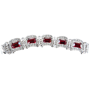 Heart Throbbing 1950s Ruby Red Chunky Bracelet