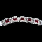 Heart Throbbing 1950s Ruby Ref Chunky Bracelet