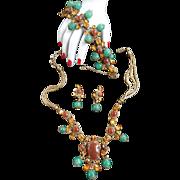 Breathtaking 1940s Carnelian Necklace Bracelet Earrings
