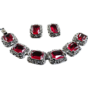 Heart Throbbing Red Vintage Chunky Designer Bracelet and Earrings