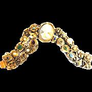 Mesmerizing Goldette Huge Cameo Charm Slide Vintage Bracelet