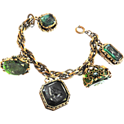 Amazing Vintage Victorian Style Cameo Intaglio Filigree Fob Bracelet
