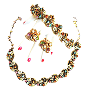 Art Signed Parure Faux Pearl Beads and Rhinestones Galore