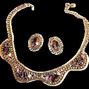 Designer Amethyst cabochon Rhinestone Collar and Earrings vintage
