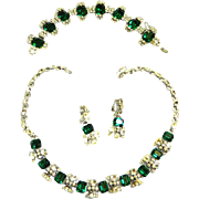 Elegant Designer Emerald Rhinestone Vintage Necklace Bracelet Earrings