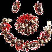 Juliana Gorgeous Hematite Cabochon Brooch Bracelet Earrings